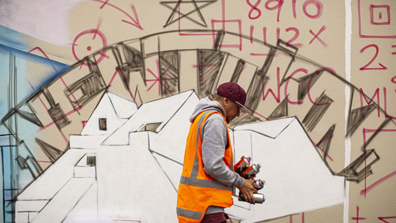 NEWTOWN HALL Mural By Kerb One & Spex One -  TEASER