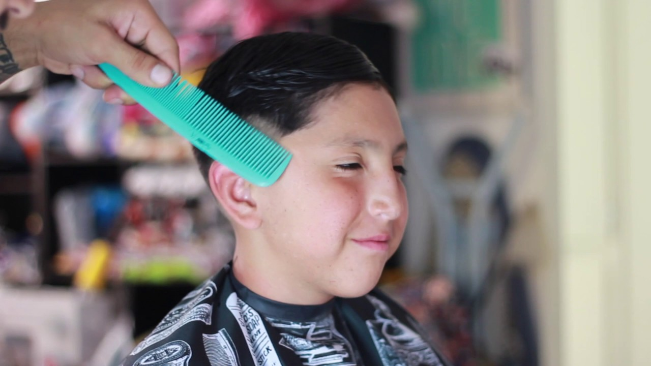drop fade combover with hard part