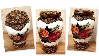 DIY/Decoupage Glass jar /  Glass jar decor with air dry clay