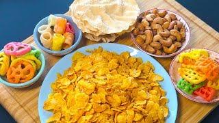 No Oil Snacks | Oil Free Snacks | No fry healthy salted cashew, papad, chivda, fryums