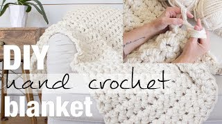 How to Hand Crochet (Finger Crochet) a Blanket in 1 Hour with Simply Maggie NEW!