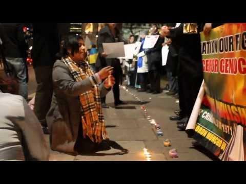 Multifaith candle vigil infront of British Parliament Part-1