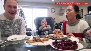 Vlog 427 ll Chồng Yêu Làm Bánh Kẹp Ăn Sáng Cùng Cánh Gà Chiên Và Cherry