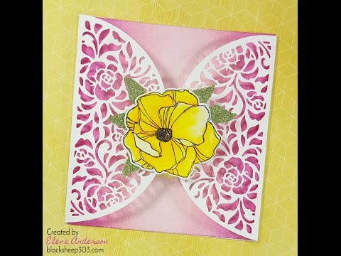 Ombre Gatefold Card with Elizabeth Craft Designs, Distress Inks & Zig Clean Color Real Brush Markers