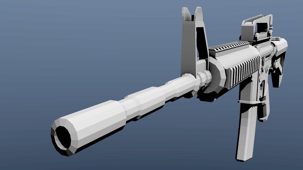 Dlg Blender 3d Speed Modelling Of M4a1 Youtube