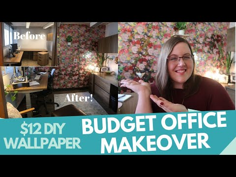 DIY Removable Wallpaper How To - Extreme Budget Office Makeover