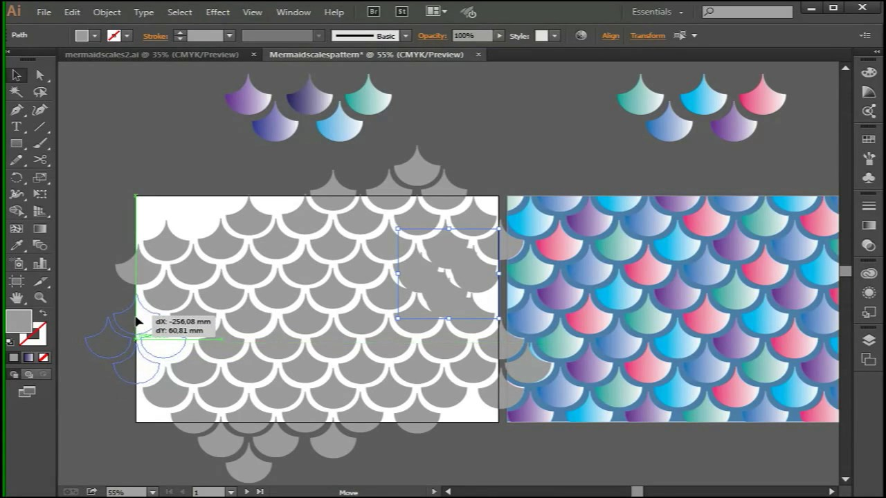 How to make a mermaid scale pattern on adobe illustrator CC