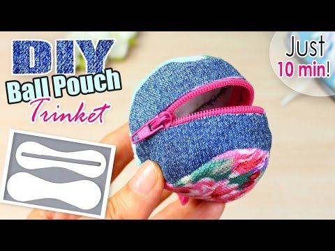 DIY Jeans BALL POUCH Zipper Trinket Idea