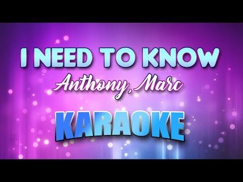 Anthony, Marc - I Need To Know (Karaoke version with Lyrics)