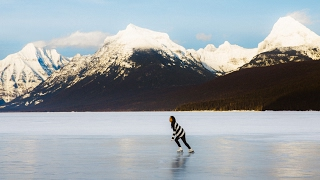 Ice Skating on a Frozen Alpine Lake