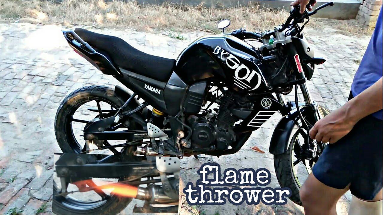 Yamaha fzs modified flame thrower fire shots yamaha fz modification accessories