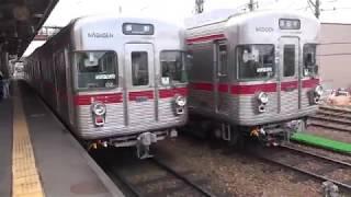 3500系だらけ?の、長野電鉄須坂駅構内、工場4番ピットに戻った3500系O6編成。