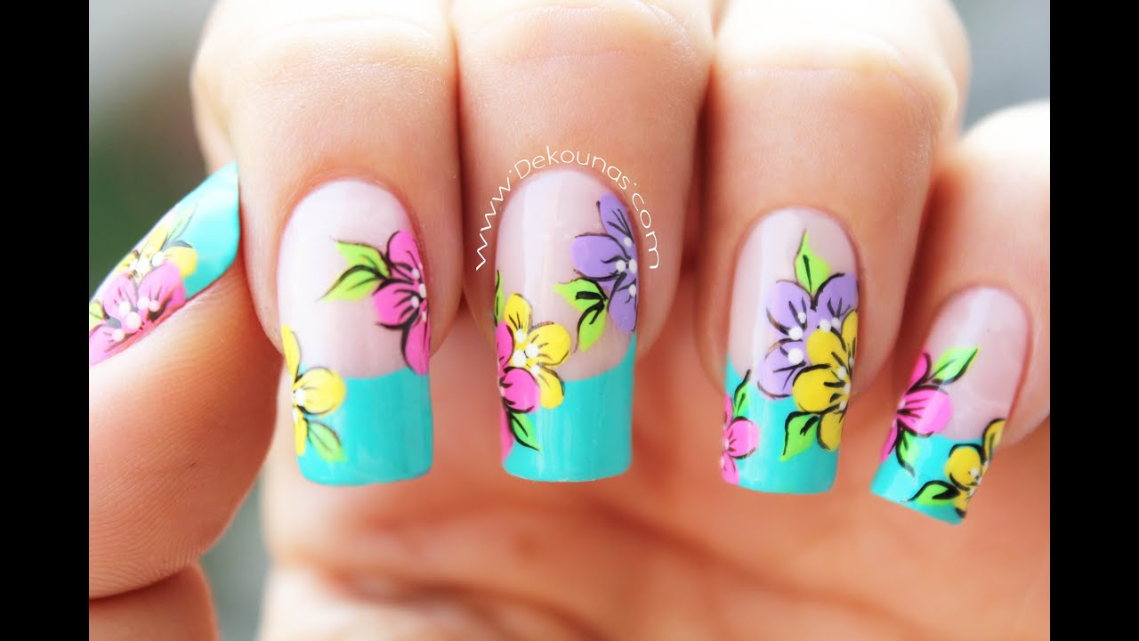 Decoración de uñas flores - Flowers nail art - YouTube