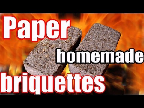Press Biomass Briquettes. Recycling. Video how to produce. Waste management. Paper log maker