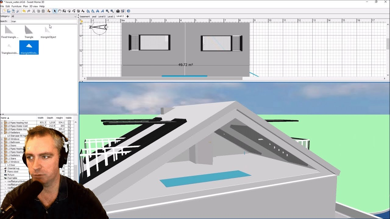 Triangular Rooftop Glass Wall In Sweet Home 3D