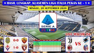 Hasil Liga Italia Tadi Malam Pekan Ke 1 ~ Verona VS AS Roma Serie A Italia 2020/2021