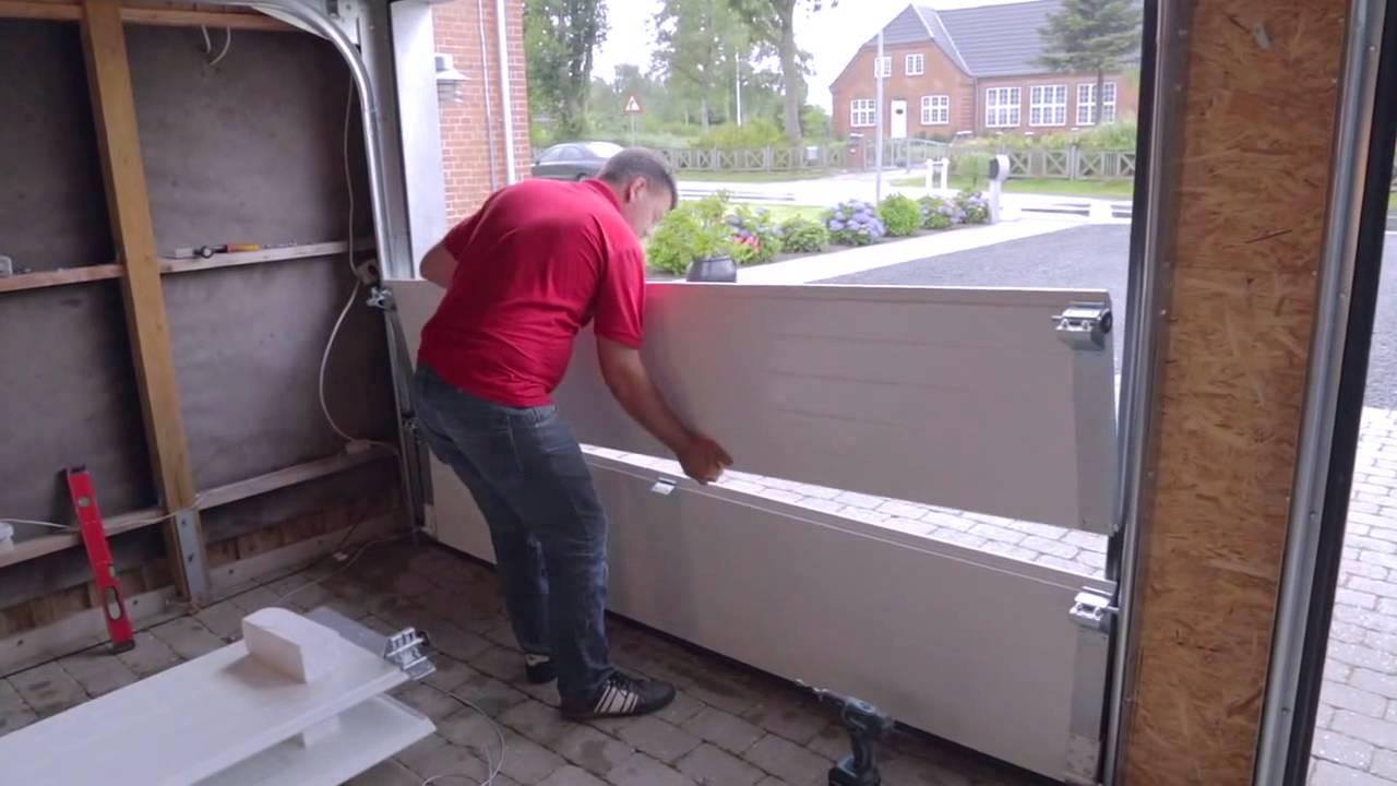 Montering af garageport (bagmonteret fjedrer) - YouTube