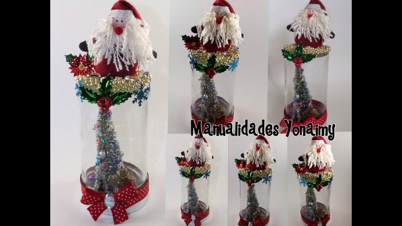 Adorno navide o hecho con un frasco reciclado youtube - Adornos navidad reciclados para ninos ...