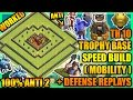 Clash Of Clans - Town Hall 10 (TH10) Trophy Base with Bomb Tower + Defense Replay| ANTI 2 STAR| 100%
