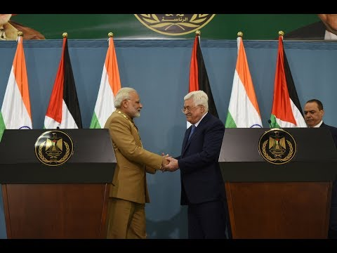 PM Modi & President Mahmoud Abbas of Palestine at a Joint Press Statement