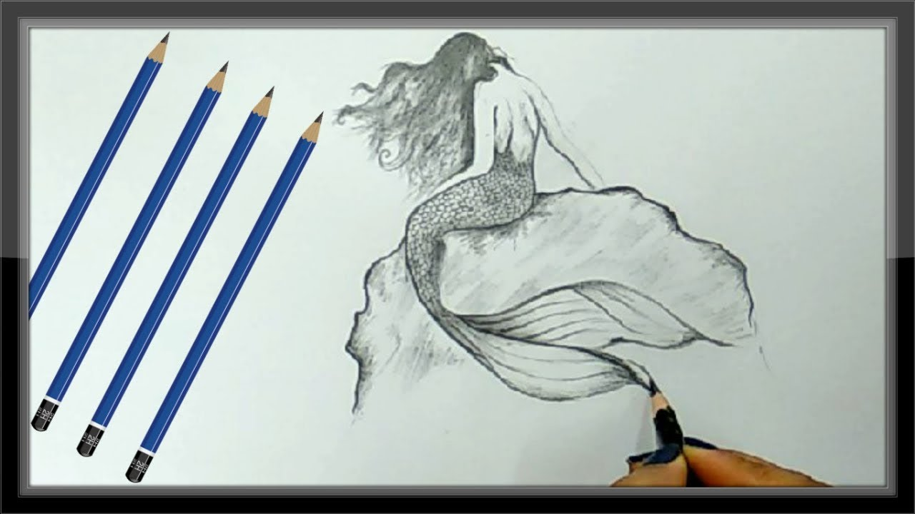 Cool Drawings Pencil Drawing A Beautiful Mermaid Picture Easy