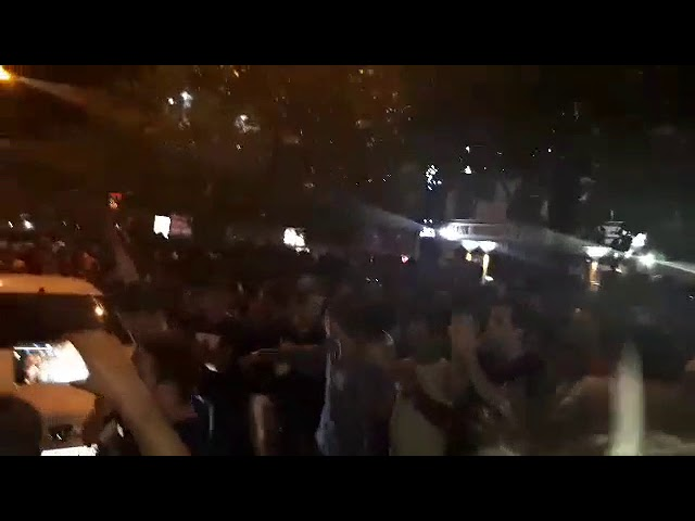 ARAK, Iran, June 25, Protesters chanting: Canon, Tank, Firecrackers the Mullahs must go to hell