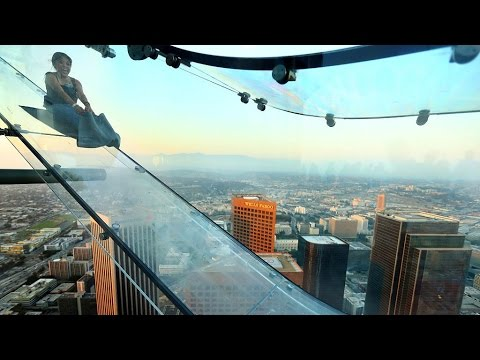 New glass 'SkySlide' in Los Angeles hovers 1,000 feet in the air GOPRO