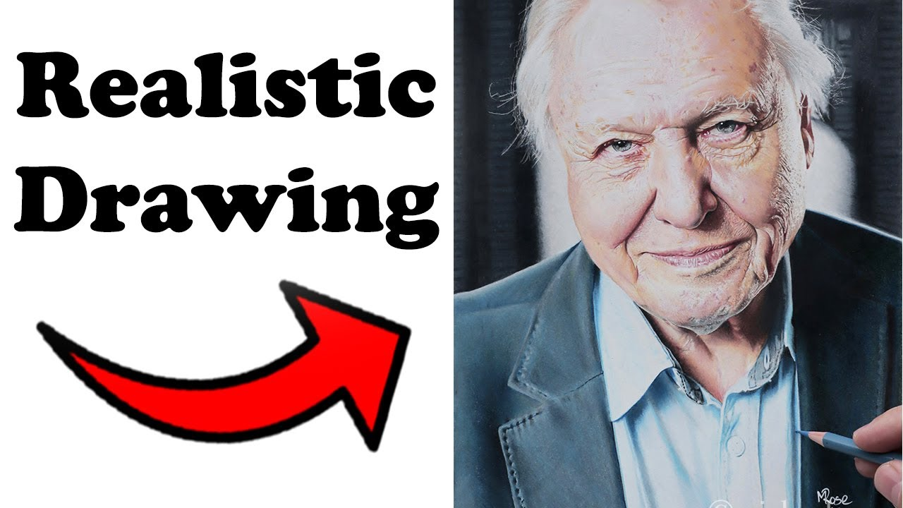 Drawing Sir David Attenborough with colour pencils start ...