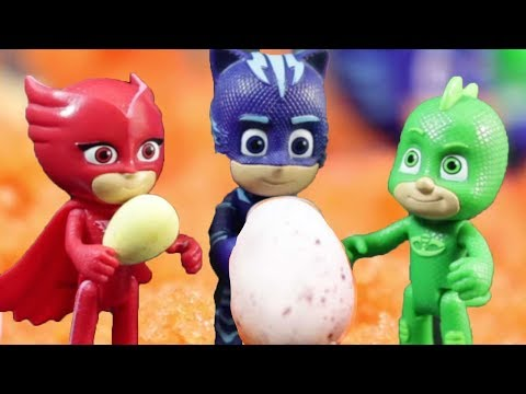 PJ Masks Toys - Surprise Eggs inside the Volcano - PJ Masks to the rescue #PJMasksofficial
