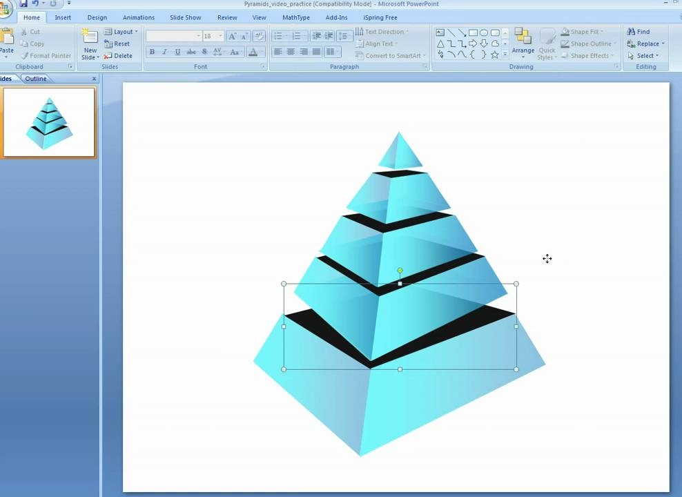 how to make additional layers in 3d pyramids in powerpoint