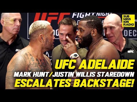 """""""I'll F**ken Smash Both of You!"""" - Commotion During Mark Hunt's Final UFC Staredown w/ Justin Willis"""