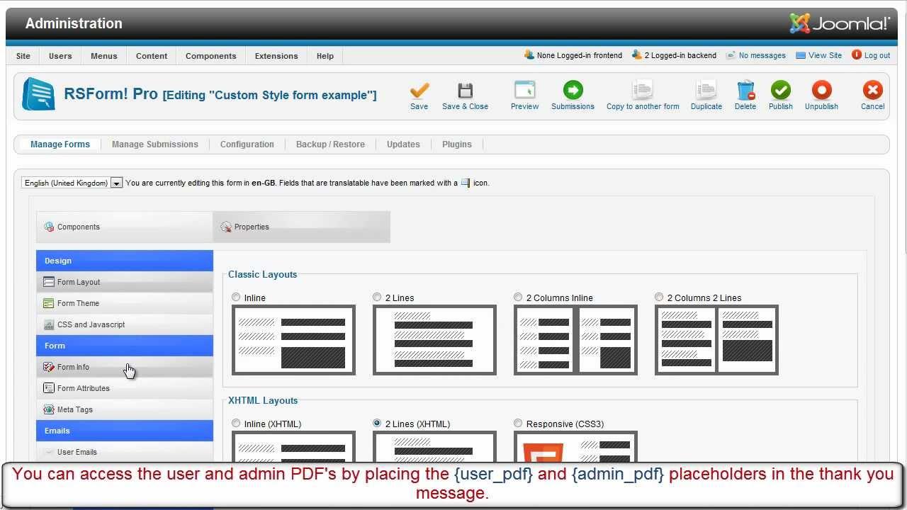 RSForm!Pro PDF plugin - YouTube
