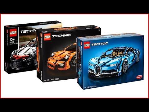 COMPILATION LEGO TECHNIC Cars 42083 Bugatti Chiron + 42056 Porsche 911 + 42096 Porsche – UNBOXING