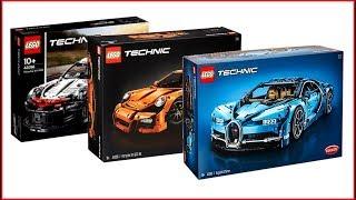 COMPILATION LEGO TECHNIC Cars 42083 Bugatti Chiron + 42056 Porsche 911 + 42096 Porsche - UNBOXING