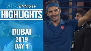 Federer, Coric, Tsitsipas & Monfils Reach Last Four | Dubai 2019 Quarter-Final Highlights