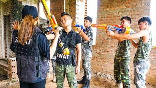 Hihahe Nerf War SWAT & Marksman Nerf Guns Super women vs Boss Nerf War