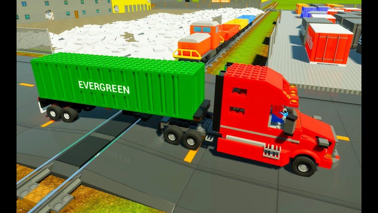 MONSTER TRUCK DESTROYS TRAIN! - Brick Rigs Gameplay & Workshop .