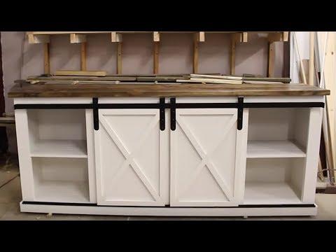 DIY Media Center / Buffet With Barn Doors