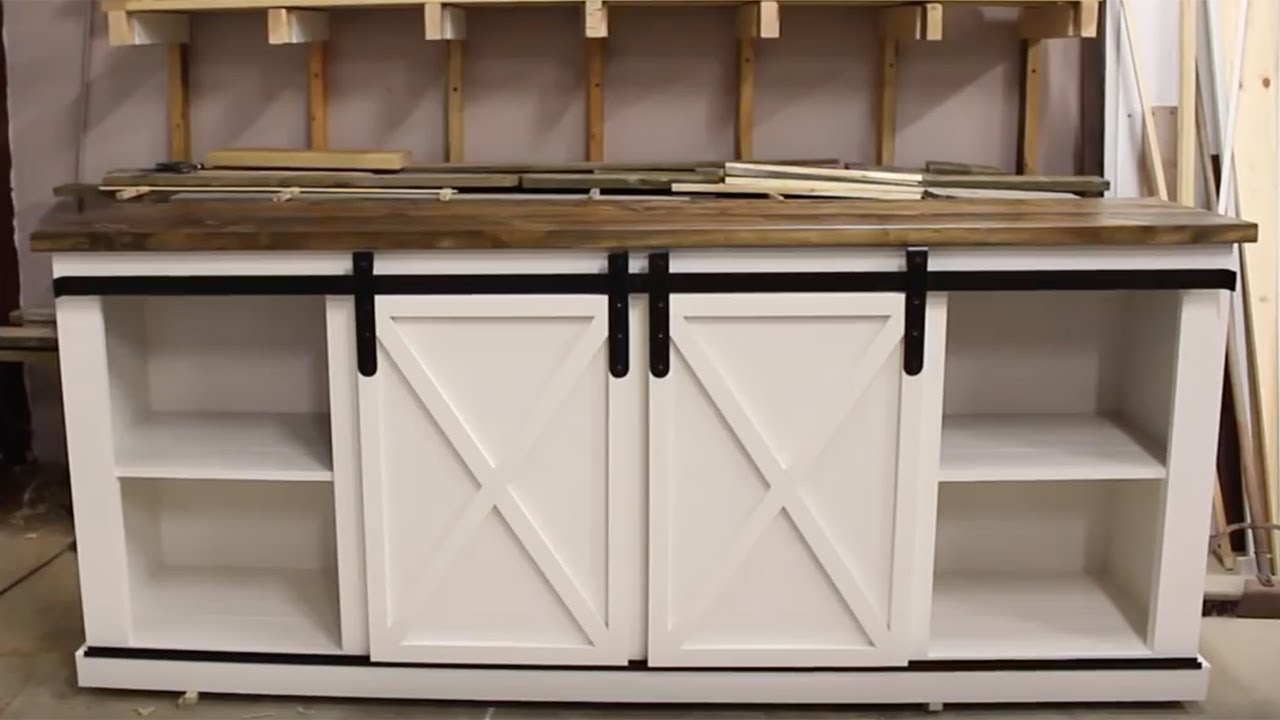 Diy Media Center Buffet With Barn Doors Youtube
