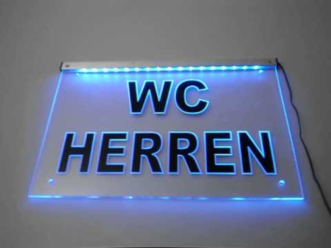 led schild herren wc graviert mit folie by sw. Black Bedroom Furniture Sets. Home Design Ideas