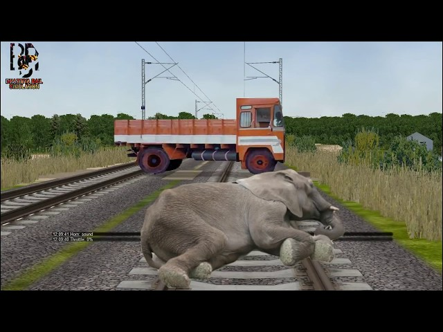 ELEPHANT SLEEPING at UNMANNED level crossing in indian train simulator