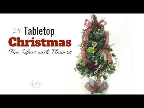 DIY Tabletop Christmas Tree Ideas with Silk Flowers