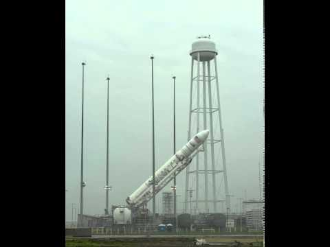 Antares Rocket Raised on Launch Pad