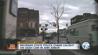 Michigan State Police chase caught on dash cam in Ann Arbor