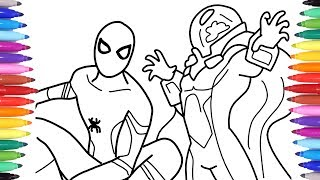 marvel-39-s-spiderman-far-from-home-coloring-book-drawing-spiderman-and-mysterio