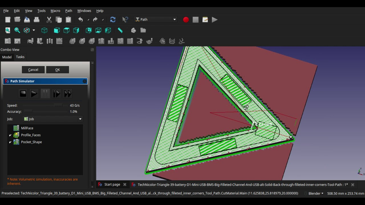 Technicolour Triangle tool-path generation in freeCAD