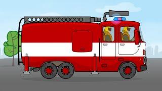 Мультики про машинки от 2 лет, мультфильм конструктор Пожарная Машина - Большая сборка