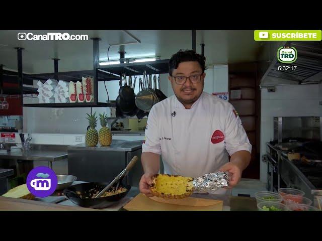 Prepara delicioso arroz con piña, carne oreada y curry de ajíes dulces