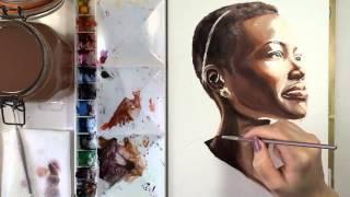 Watercolor Painting of Lupita Nyong'o