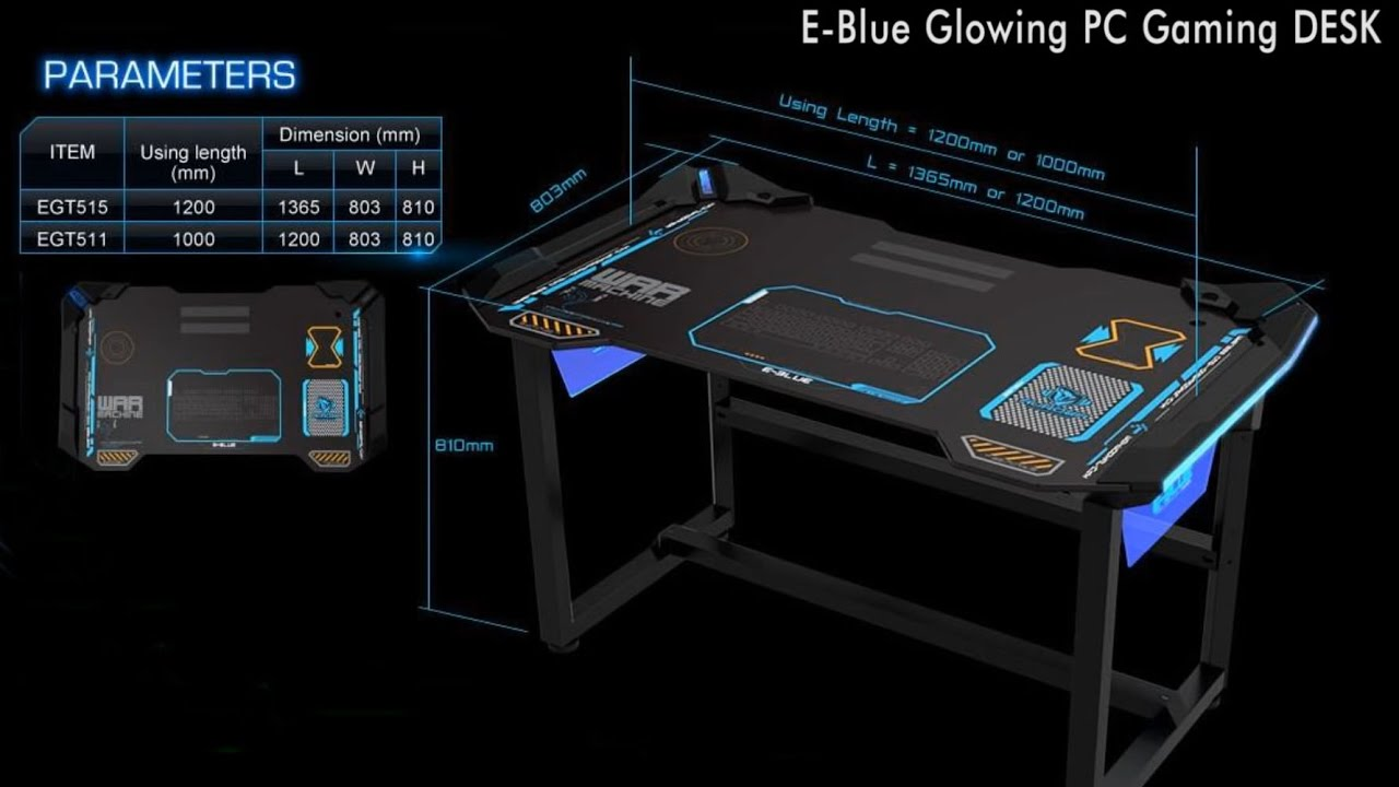 EBlue PC Gaming Table with LED  EGT515BK  Compujicom